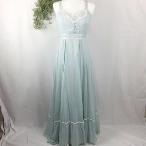 Gunne Sax Peasant Prairie Dot Blue Maxi Dress 🌿